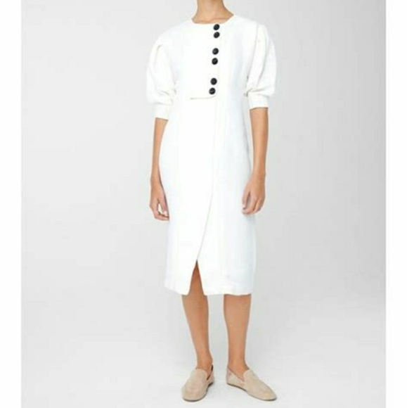 1d69c140bdb Mango Women s white linen-blend midi dress. M 5b3d3f8b3c984403ac0b4ae8